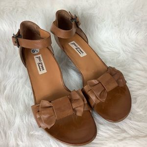 Paul Green Brown Leather Bow Sandals